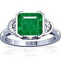Emerald Half Bezel Set Three Stone Ring With Half Moon Shape Diamonds (2.12cttw)