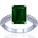 Emerald Prong Set Ring With Round Diamonds (9.38cttw)