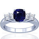 Rare Untreated Cushion Blue Sapphire Prong Set Ring With Princess Cut Diamonds (1.51cttw)
