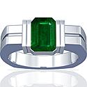 Emerald Bar Set Mens Ring (2.78cttw)
