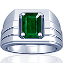 Emerald Prong Set Mens Ring (2.75cts)