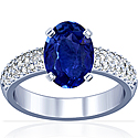 Rare Untreated Oval Cut Blue Sapphire Prong Set Ring With Round Diamonds (3.40cttw)