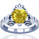 Heart Shape Yellow Sapphire Claddagh Ring (1.47cttw)