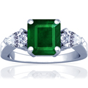 Emerald Prong Set Three Stone Ring With Pear Shape Diamonds (6.76cttw)