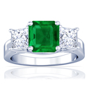 Emerald Prong Set Three Stone Ring With Princess Cut Diamonds (3.72cttw)