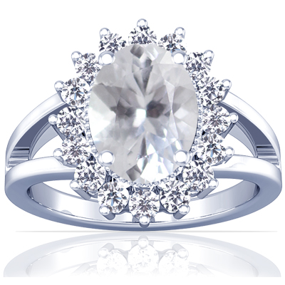 white sapphire oval princess diana ring 1 33cttw