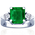 Emerald Prong Set Three Stone Ring With Pear Shape Diamonds (3.76cttw)