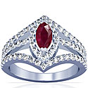 Marquise Shape Ruby Prong Set Halo Ring With Round Diamonds (3.02cttw)