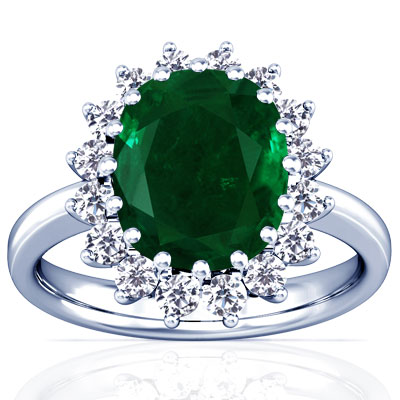 Cushion Shape Emerald Princess Diana Ring 4 77cttw