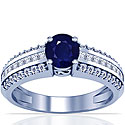 Round Shape Blue Sapphire Prong Set Ring With Princess Cut And Round Diamonds (1.93cttw)