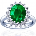Emerald Oval Princess Diana Ring (3.09cttw)