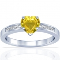 Heart Shape Yellow Sapphire Prong Set Ring With Princess Cut Diamonds (2.22cttw)