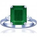 Emerald Prong Set Three Stone Ring With Trillion Cut Diamonds (4.23cttw)