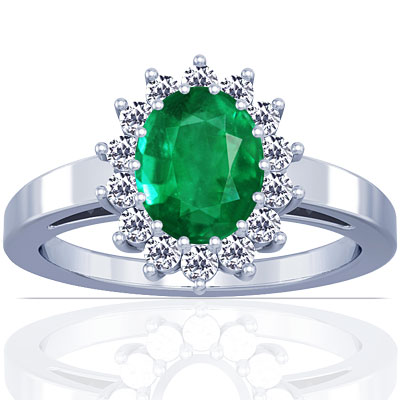 emerald oval princess diana ring 1 53cttw