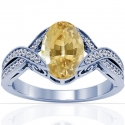 Rare Untreated Oval Cut Yellow Sapphire Prong Set Ring With Round Diamonds (1.39cttw)