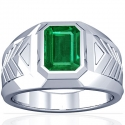 Emerald Bezel Set Mens Ring (2.64cts)