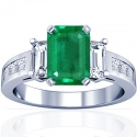 Emerald Prong Set Three Stone Ring With Princess Cut And Emerald Cut Diamonds (1.75cttw)