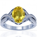 Oval Cut Yellow Sapphire Prong Set Ring With Round Diamonds (2.67cttw)