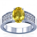 Oval Cut Yellow Sapphire Prong Set Ring With Round Diamonds (2.79cttw)