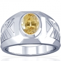 Astrological Men's Rare Untreated Yellow Sapphire Bezel Set Ring (1.06cts)