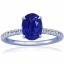 Rare Untreated Oval Cut Blue Sapphire Prong Set Ring With Round Diamonds (3.46cttw)