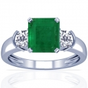 Emerald Prong Set Three Stone Ring With Round Diamonds (2.38cttw)