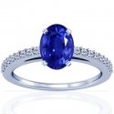 Rare Untreated Oval Cut Blue Sapphire Prong Set Ring With Round Diamonds (3.78cttw)