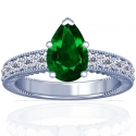 Pear Shape Emerald Prong Set Ring With Round Diamonds (1.91cttw)