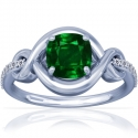 Cushion Emerald Prong Set Ring With Round Diamonds (1.14cttw)