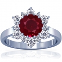 Round Shape Ruby Prong Set Halo Ring With Round Diamonds (1.48cttw)