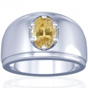 Astrological Men's Rare Untreated Yellow Sapphire Prong Set Ring (1.06cts)