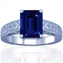 Rare Untreated Emerald Cut Blue Sapphire Solitaire Ring (0.65cts)
