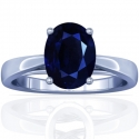 Rare Untreated Oval Cut Blue Sapphire Prong Set Ring With Round Diamonds (3.92cttw)
