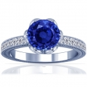 Rare Untreated Round Shape Blue Sapphire Prong Set Ring With Round Diamonds (1.15cttw)