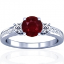 Rare Untreated Round Shape Ruby Prong Set Three Stone Ring With Princess Cut And Round Diamonds (1.40cttw)