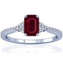 Emerald Cut Ruby Prong Set Ring With Round Diamonds (0.94cttw)