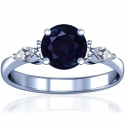 Round Shape Blue Sapphire Prong Set Ring With Marquise Shape And Round Diamonds (2.37cttw)