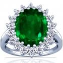 Emerald Oval Princess Diana Ring (3.21cttw)