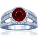 Round Shape Ruby Prong Set Halo Ring With Round Diamonds (1.63cttw)