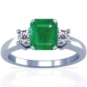 Emerald Prong Set Three Stone Ring With Round Diamonds (1.71cttw)