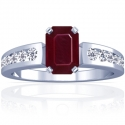 Emerald Cut Ruby Prong Set Ring With Round Diamonds (1.18cttw)