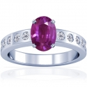 Rare Untreated Oval Cut Purple Sapphire Prong Set Ring With Round Diamonds (1.66cttw)