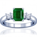 Rare Untreated Emerald Prong Set Ring With Princess Cut Diamonds (3.87cttw)
