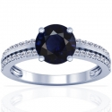 Round Shape Blue Sapphire Prong Set Ring With Round Diamonds (1.37cttw)