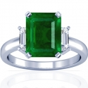 Rare Untreated Emerald Prong Set Three Stone Ring With Emerald Cut Diamonds (3.47cttw)