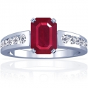 Emerald Cut Ruby Prong Set Ring With Round Diamonds (1.04cttw)