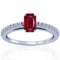 Emerald Cut Ruby Prong Set Ring With Round Diamonds (0.77cttw)