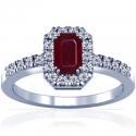 Emerald Cut Ruby Prong Set Ring With Round Diamonds (1.12cttw)