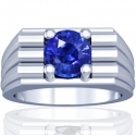 Round Shape Blue Sapphire Prong Set Mens Ring (2.12cts)