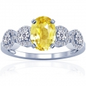 Rare Untreated Oval Cut Yellow Sapphire Prong Set Ring With Round Diamonds (1.67cttw)